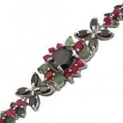 دستبند زمرد و یاقوت سرخ و کبود لوکس و اشرافی زنانه