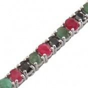 دستبند زمرد و یاقوت سرخ و کبود پرنسسی و فاخر زنانه