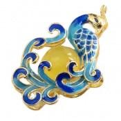 مدال عقیق زرد میناکاری طرح طاووس زنانه