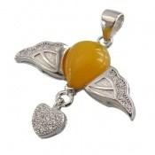 مدال عقیق زرد طرح پرواز زنانه
