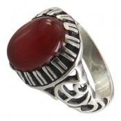 انگشتر عقیق قرمز طرح دورچنگ مردانه