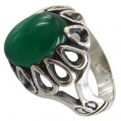 انگشتر عقیق سبز طرح شایان مردانه