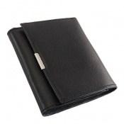 کیف چرم طبیعی مشکی مدل جیبی دکمه دار