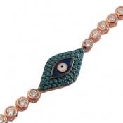 دستبند نقره طرح چشم زخم زنانه