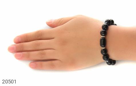 دستبند حدید و عقیق سیاه درشت زنانه - عکس 5