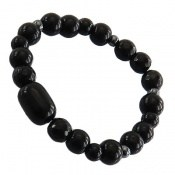 دستبند حدید و عقیق سیاه زنانه