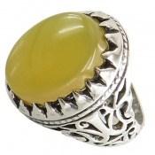 انگشتر عقیق زرد شرف الشمس طرح سلطان مردانه