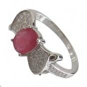 انگشتر یاقوت سرخ طرح پاپیون زنانه