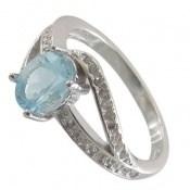 انگشتر توپاز آبی طرح غزال زنانه