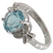 انگشتر توپاز آبی طرح پروانه زنانه