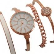ساعت کلوین تایم Kelvin Time نگین دار مجلسی با ست دستبند زنانه