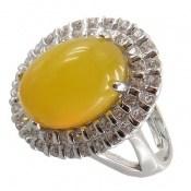 انگشتر عقیق زرد طرح ملکه رکاب فری سایز زنانه