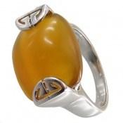 انگشتر عقیق زرد درشت طرح ماژان زنانه