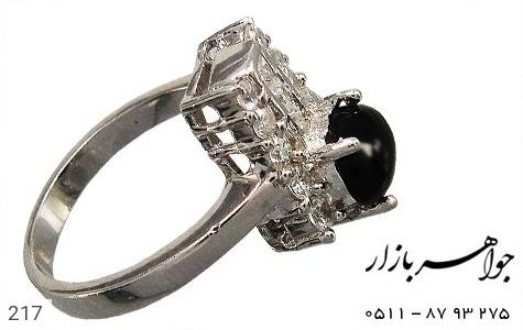 انگشتر عقیق سیاه پرنگین زنانه - عکس 1
