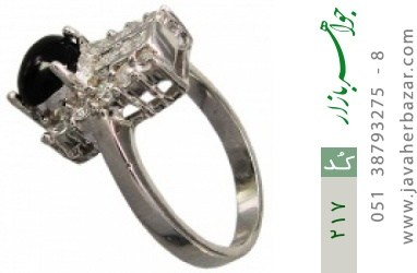 انگشتر عقیق سیاه پرنگین زنانه - کد 217