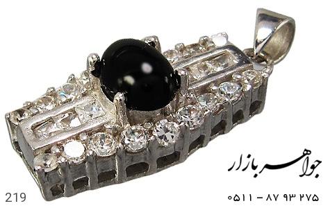 مدال عقیق سیاه پرنگین زنانه - عکس 1