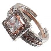 انگشتر نقره حلقه و پشت حلقه مربعی زنانه
