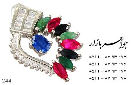 مدال زمرد یاقوت طرح برگ زنانه - عکس 1