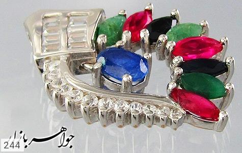 مدال زمرد یاقوت طرح برگ زنانه - عکس 3