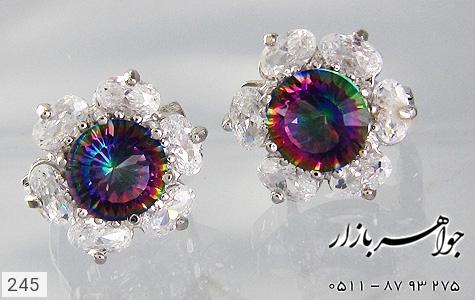گوشواره توپاز هفت رنگ طرح گل زنانه - تصویر 2