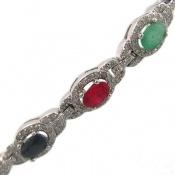 دستبند یاقوت و زمرد معدنی زنانه
