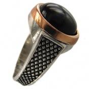 انگشتر نقره طرح عقیق سیاه مردانه