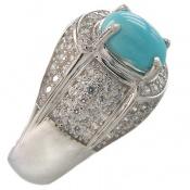 انگشتر فیروزه نیشابوری خوش رنگ و ارزشمند مردانه