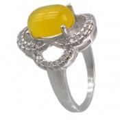 انگشتر عقیق زرد شرف الشمس طرح گل زنانه