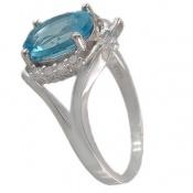 انگشتر توپاز آبی مرغوب طرح پروانه زنانه