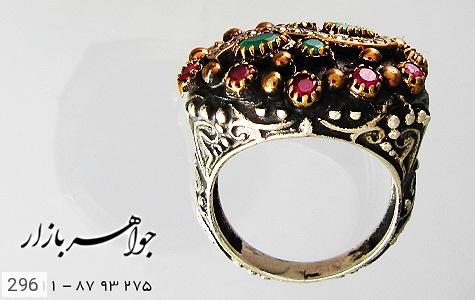 انگشتر نقره سیاه قلم کار ترک زنانه - تصویر 2