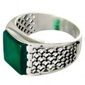 انگشتر عقیق سبز طرح سیاه قلم