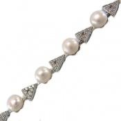 دستبند مروارید آب رودیوم طرح مثلثی زنانه