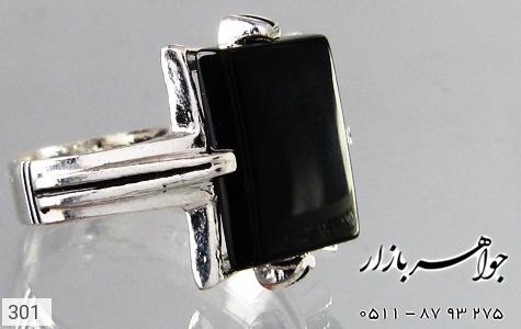 انگشتر عقیق سیاه طرح سیاه قلم - عکس 3