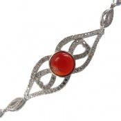 دستبند نقره مجلسی طرح عقیق زنانه