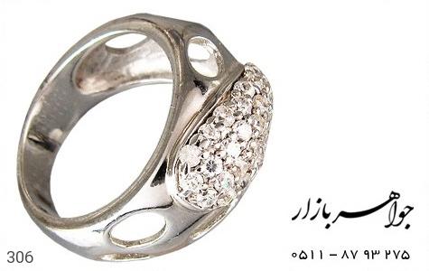 انگشتر نقره آب رودیوم سفید اسپرت - عکس 1