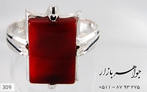 انگشتر عقیق قرمز طرح سیاه قلم - تصویر 2