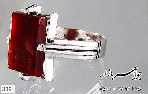 انگشتر عقیق قرمز طرح سیاه قلم - عکس 3