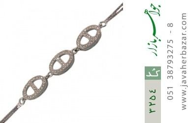 دستبند نقره طرح بیضی زنانه - کد 3254