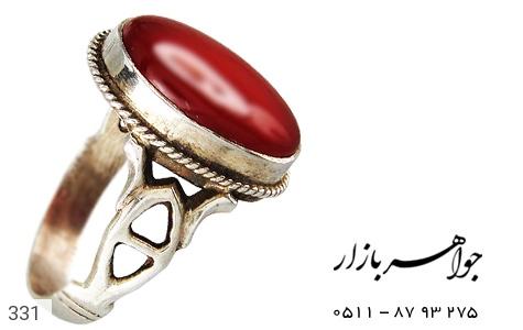 انگشتر عقیق قرمز درشت - عکس 1