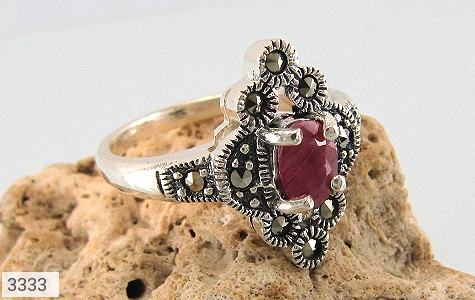 انگشتر یاقوت سرخ طرح خاتون زنانه - عکس 5