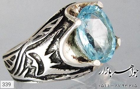 انگشتر توپاز آبی طرح سیاه قلم مردانه - تصویر 4