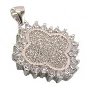 مدال نقره میکرو طرح گل زنانه