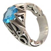 انگشتر توپاز آبی طرح شهنام مردانه