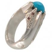 انگشتر الماس و فیروزه نیشابوری اصیل مردانه