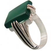 انگشتر عقیق سبز کلاسیک