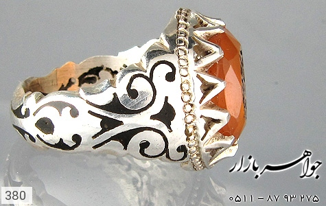 انگشتر عقیق حکاکی الحمدلله رکاب دست ساز - عکس 3