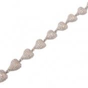 دستبند نقره مجلسی طرح قلب زنانه