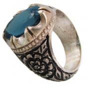 انگشتر توپاز آبی اشرافی مردانه