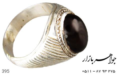 انگشتر عقیق سیاه مردانه - عکس 1