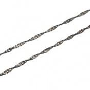 زنجیر نقره پیچ سیاه قلم 44 سانتی